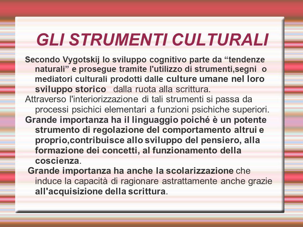 """GLI STRUMENTI CULTURALI Secondo Vygotskij lo sviluppo cognitivo parte da """"tendenze naturali"""" e prosegue tramite l'utilizzo di strumenti,segni o mediat"""