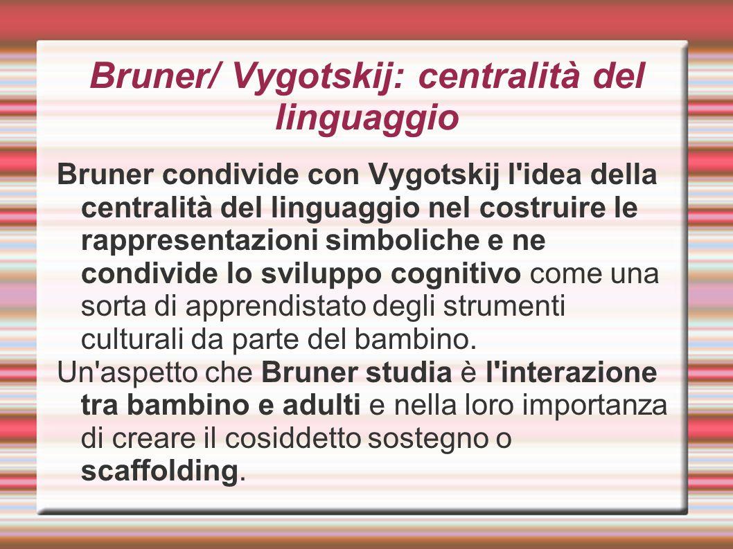Bruner/ Vygotskij: centralità del linguaggio Bruner condivide con Vygotskij l'idea della centralità del linguaggio nel costruire le rappresentazioni s
