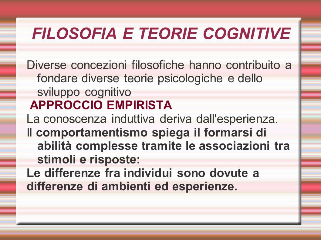 FILOSOFIA E TEORIE COGNITIVE Diverse concezioni filosofiche hanno contribuito a fondare diverse teorie psicologiche e dello sviluppo cognitivo APPROCC