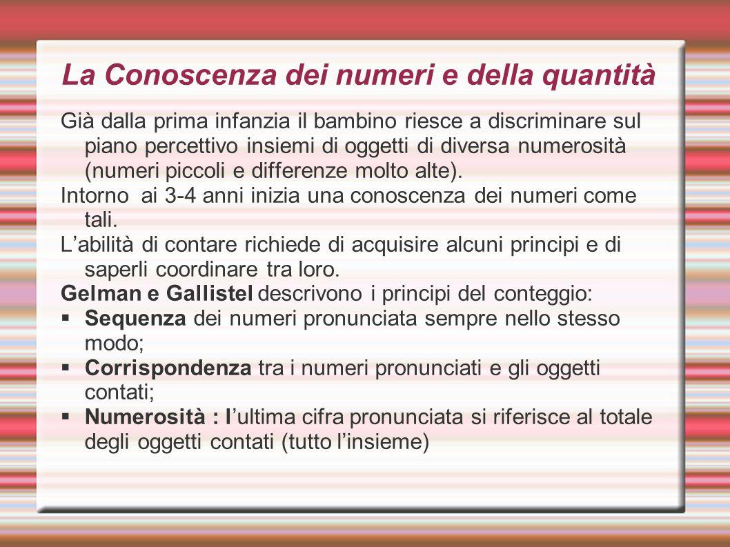 La Conoscenza dei numeri e della quantità Già dalla prima infanzia il bambino riesce a discriminare sul piano percettivo insiemi di oggetti di diversa