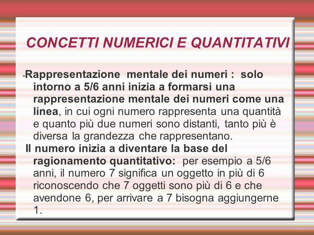 CONCETTI NUMERICI E QUANTITATIVI - Rappresentazione mentale dei numeri : solo intorno a 5/6 anni inizia a formarsi una rappresentazione mentale dei nu