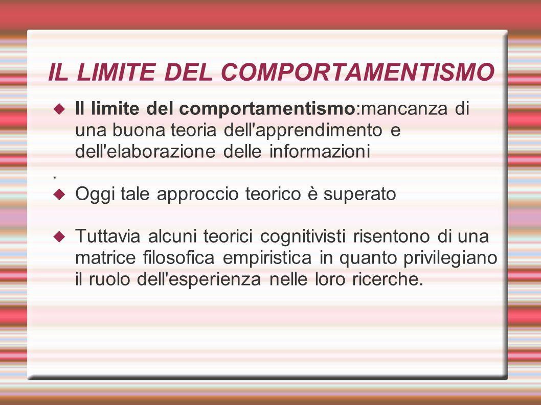 IL LIMITE DEL COMPORTAMENTISMO  Il limite del comportamentismo:mancanza di una buona teoria dell'apprendimento e dell'elaborazione delle informazioni