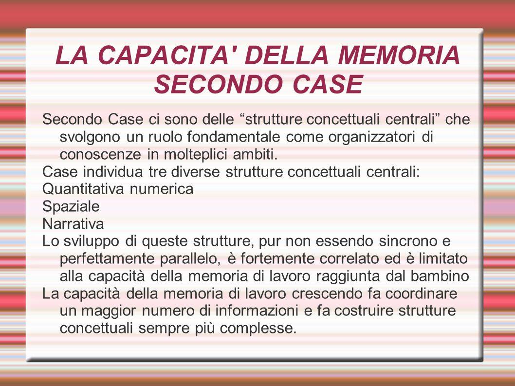 """LA CAPACITA' DELLA MEMORIA SECONDO CASE Secondo Case ci sono delle """"strutture concettuali centrali"""" che svolgono un ruolo fondamentale come organizzat"""