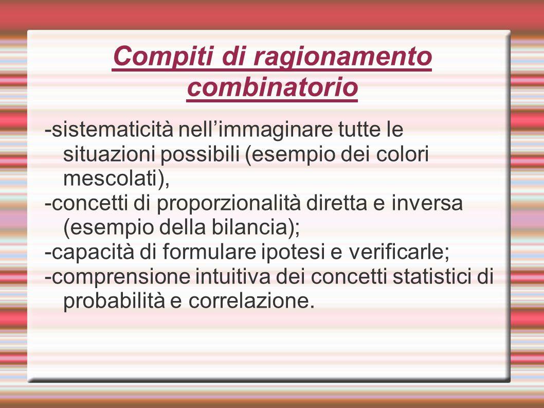 Compiti di ragionamento combinatorio -sistematicità nell'immaginare tutte le situazioni possibili (esempio dei colori mescolati), -concetti di proporz