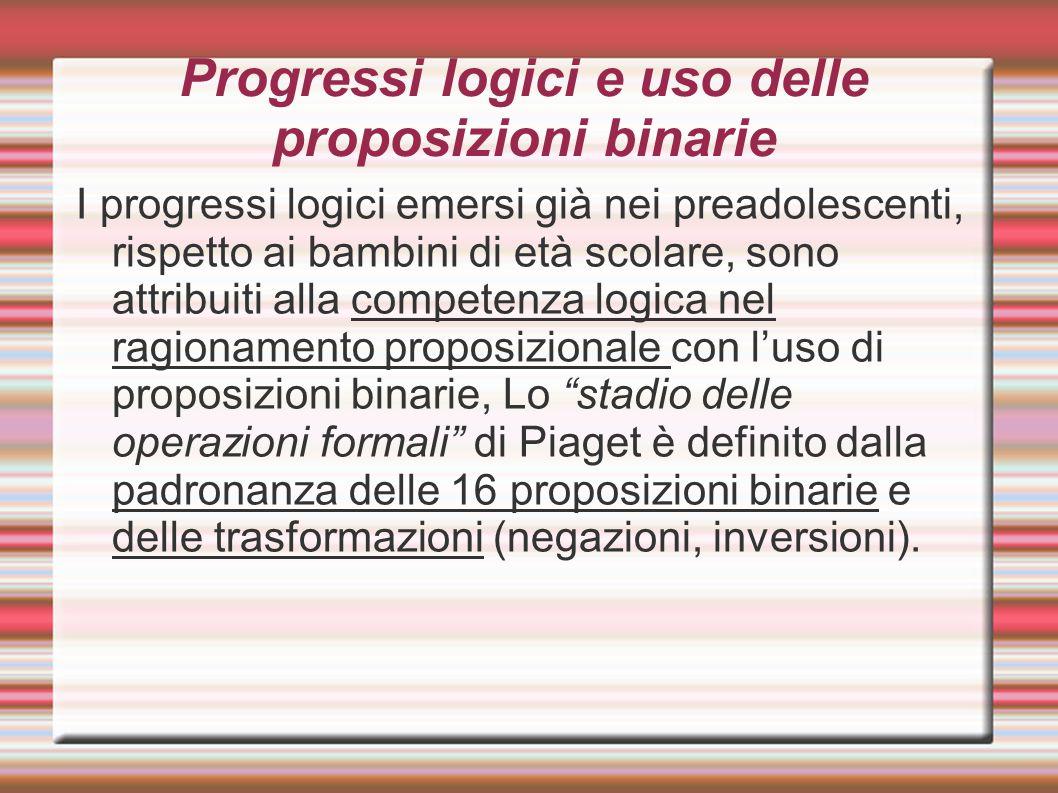 Progressi logici e uso delle proposizioni binarie I progressi logici emersi già nei preadolescenti, rispetto ai bambini di età scolare, sono attribuit