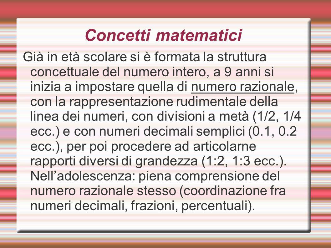 Concetti matematici Già in età scolare si è formata la struttura concettuale del numero intero, a 9 anni si inizia a impostare quella di numero razion