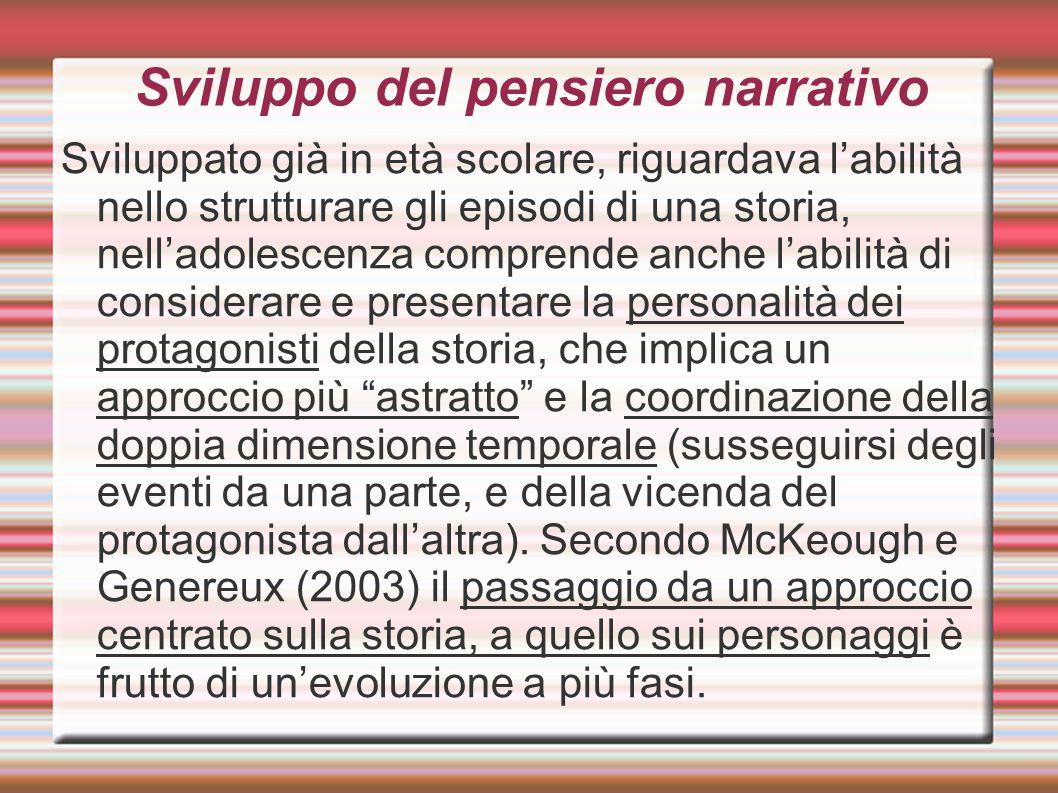 Sviluppo del pensiero narrativo Sviluppato già in età scolare, riguardava l'abilità nello strutturare gli episodi di una storia, nell'adolescenza comp