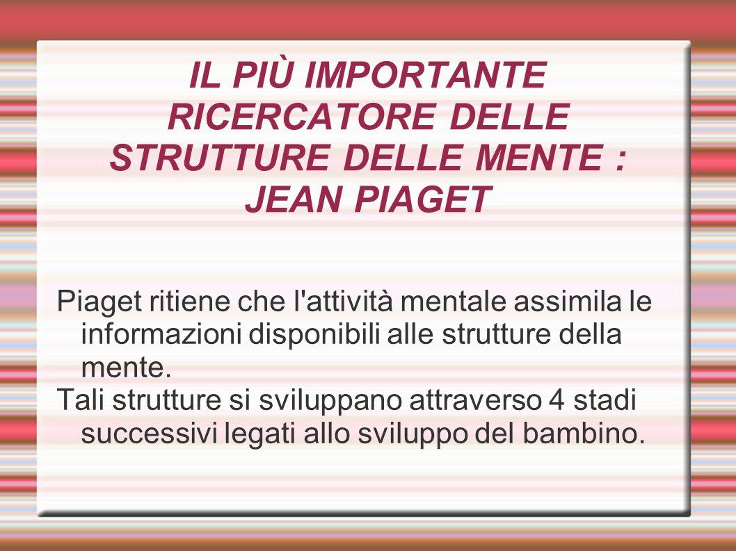 IL PIÙ IMPORTANTE RICERCATORE DELLE STRUTTURE DELLE MENTE : JEAN PIAGET Piaget ritiene che l'attività mentale assimila le informazioni disponibili all