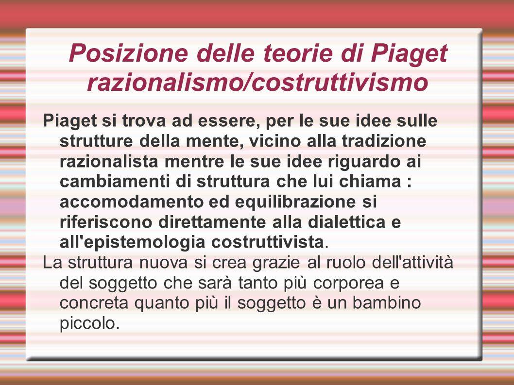 Posizione delle teorie di Piaget razionalismo/costruttivismo Piaget si trova ad essere, per le sue idee sulle strutture della mente, vicino alla tradi