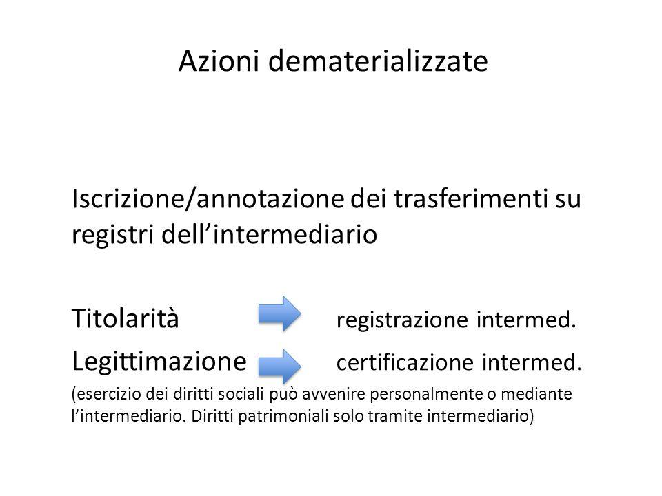 Azioni dematerializzate Iscrizione/annotazione dei trasferimenti su registri dell'intermediario Titolarità registrazione intermed. Legittimazione cert