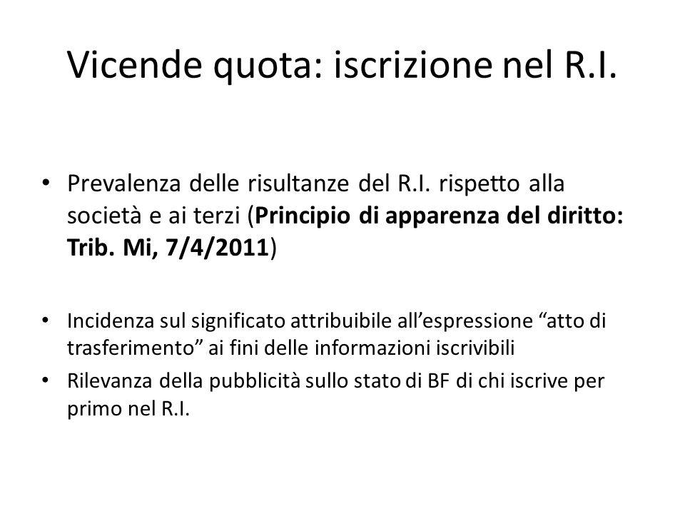 Vicende quota: iscrizione nel R.I. Prevalenza delle risultanze del R.I. rispetto alla società e ai terzi (Principio di apparenza del diritto: Trib. Mi