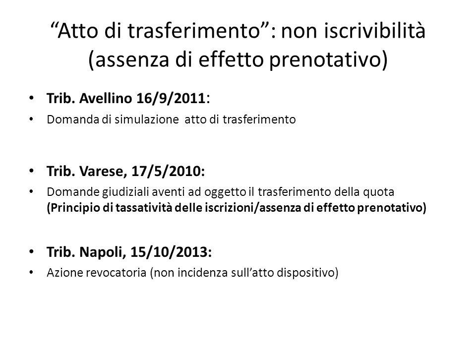 """""""Atto di trasferimento"""": non iscrivibilità (assenza di effetto prenotativo) Trib. Avellino 16/9/2011 : Domanda di simulazione atto di trasferimento Tr"""
