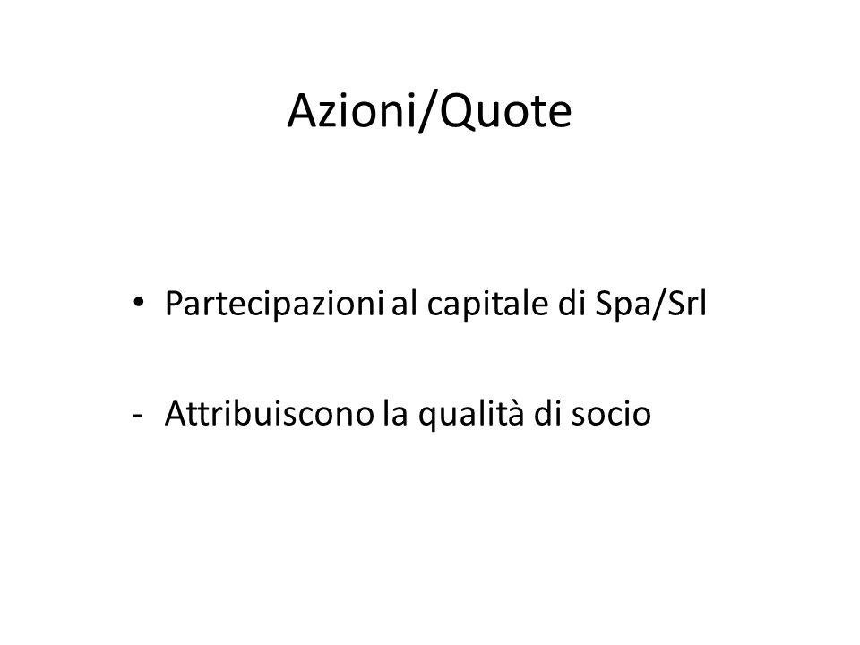Azioni/Quote Partecipazioni al capitale di Spa/Srl -Attribuiscono la qualità di socio
