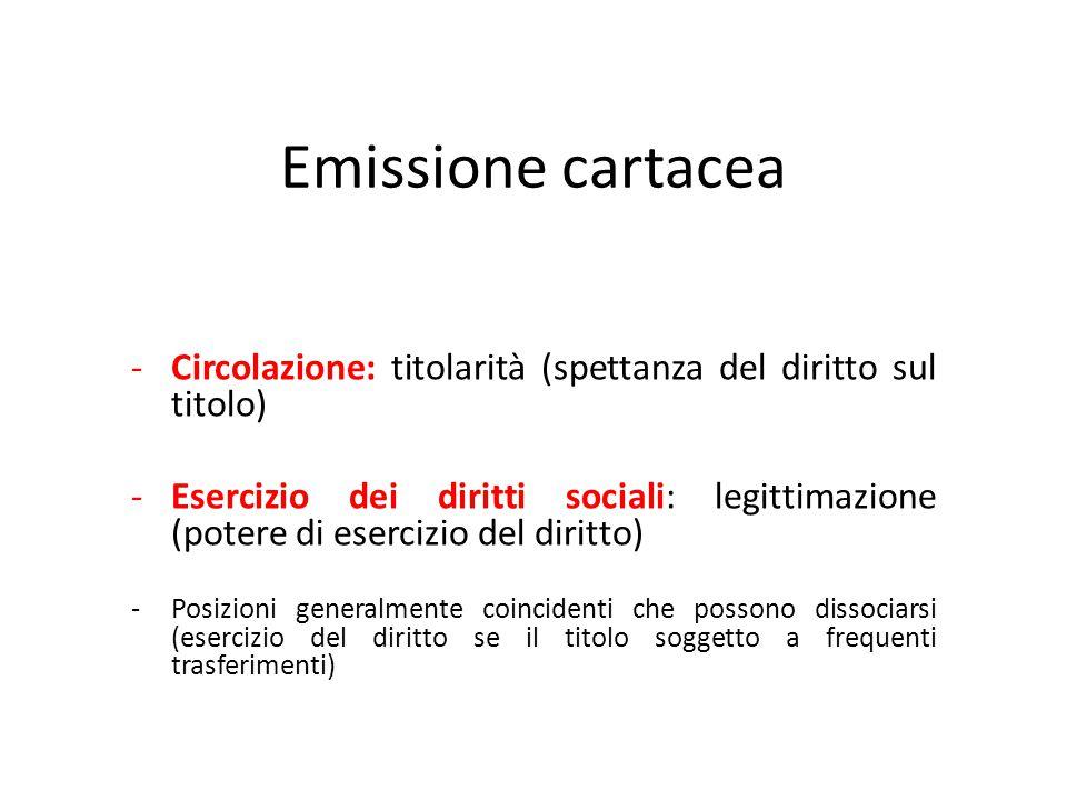 Emissione cartacea -Circolazione: titolarità (spettanza del diritto sul titolo) -Esercizio dei diritti sociali: legittimazione (potere di esercizio de
