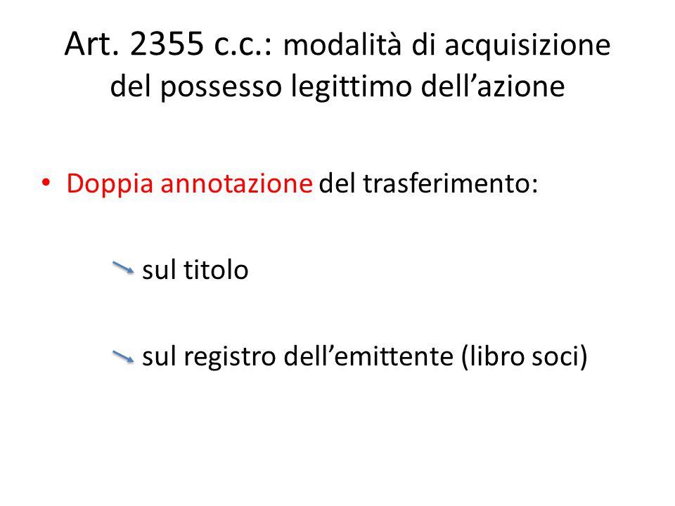 Art. 2355 c.c.: modalità di acquisizione del possesso legittimo dell'azione Doppia annotazione del trasferimento: sul titolo sul registro dell'emitten
