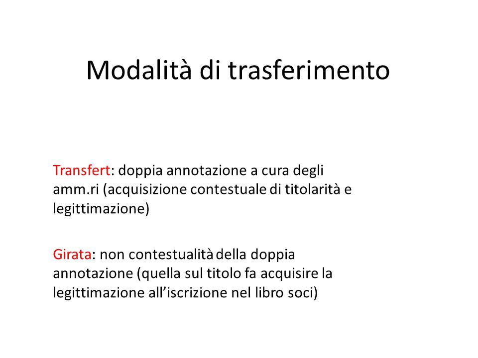 Modalità di trasferimento Transfert: doppia annotazione a cura degli amm.ri (acquisizione contestuale di titolarità e legittimazione) Girata: non cont
