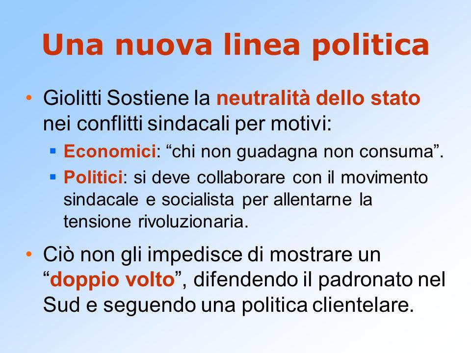 Una nuova linea politica Giolitti Sostiene la neutralità dello stato nei conflitti sindacali per motivi:  Economici: chi non guadagna non consuma .