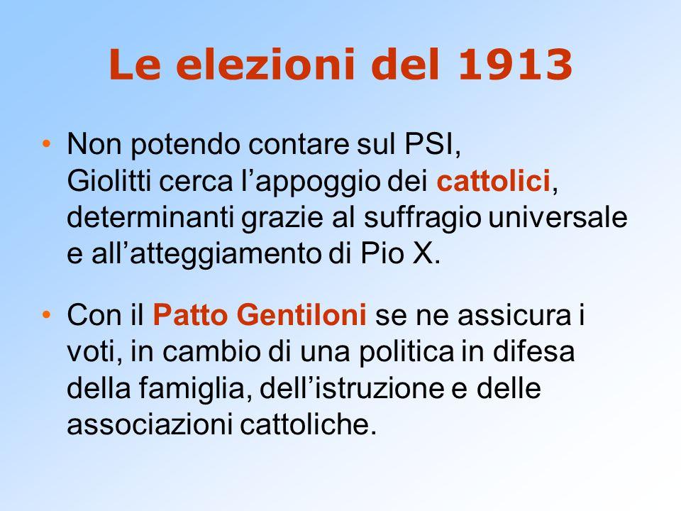 Le elezioni del 1913 Non potendo contare sul PSI, Giolitti cerca l'appoggio dei cattolici, determinanti grazie al suffragio universale e all'atteggiamento di Pio X.