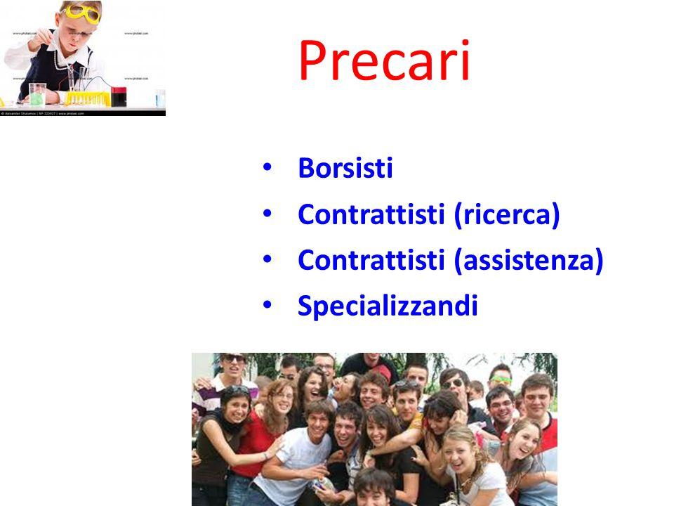 Borsisti Contrattisti (ricerca) Contrattisti (assistenza) Specializzandi Precari