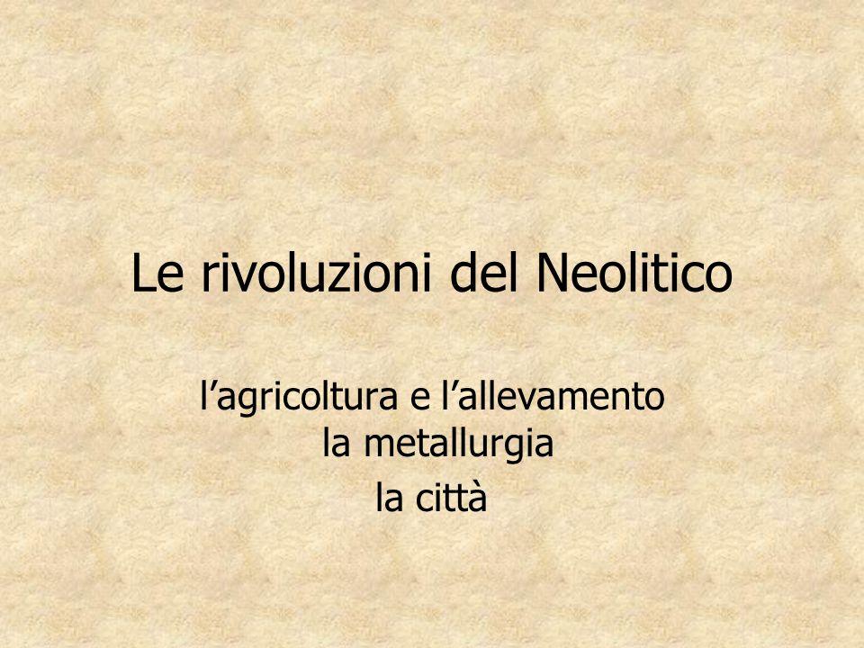 Le rivoluzioni del Neolitico l'agricoltura e l'allevamento la metallurgia la città