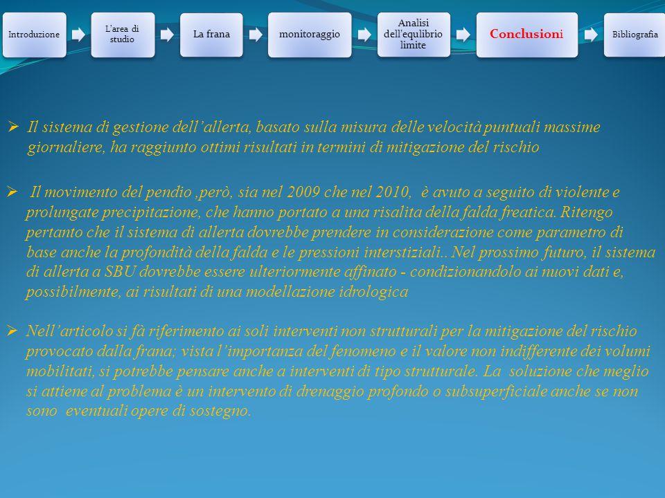 Introduzione L'area di studio La franamonitoraggio Analisi dell'equlibrio limite Conclusioni Bibliografia  Il sistema di gestione dell'allerta, basat