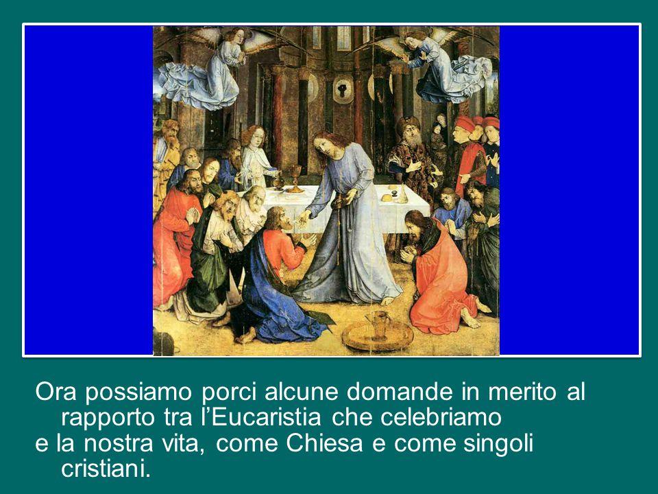 Nell'ultima catechesi ho messo in luce come l'Eucaristia ci introduce nella comunione reale con Gesù e il suo mistero.