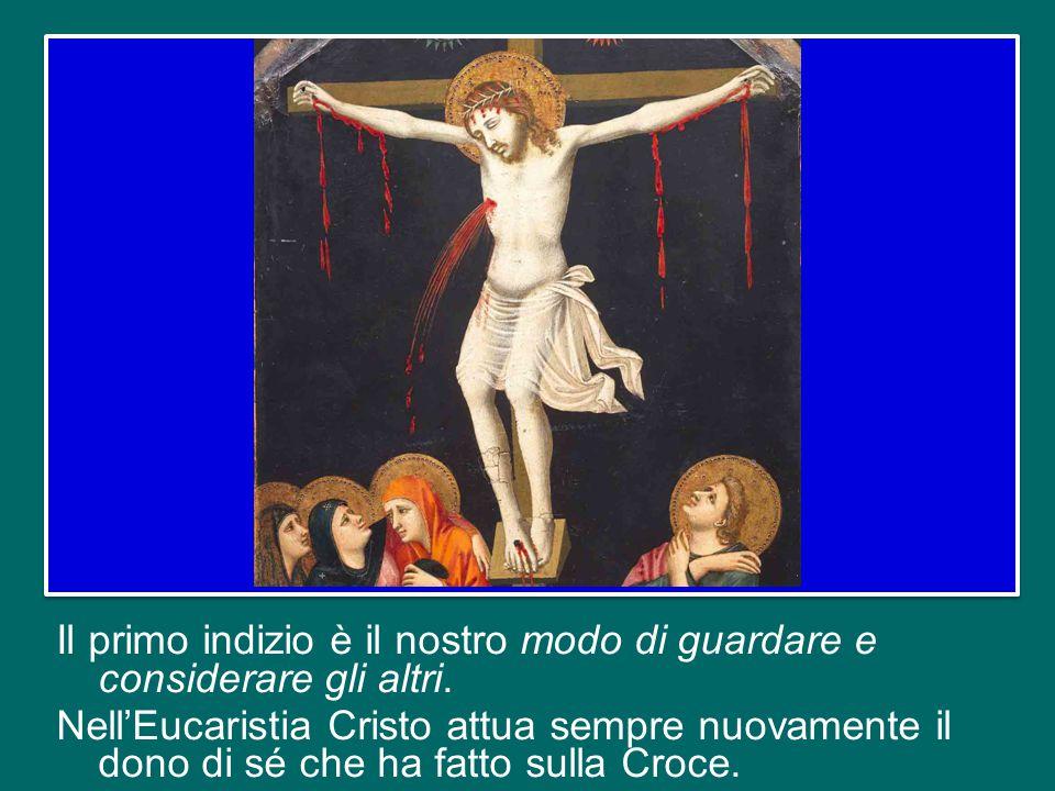 Come viviamo l'Eucaristia. Quando andiamo a Messa la domenica, come la viviamo.