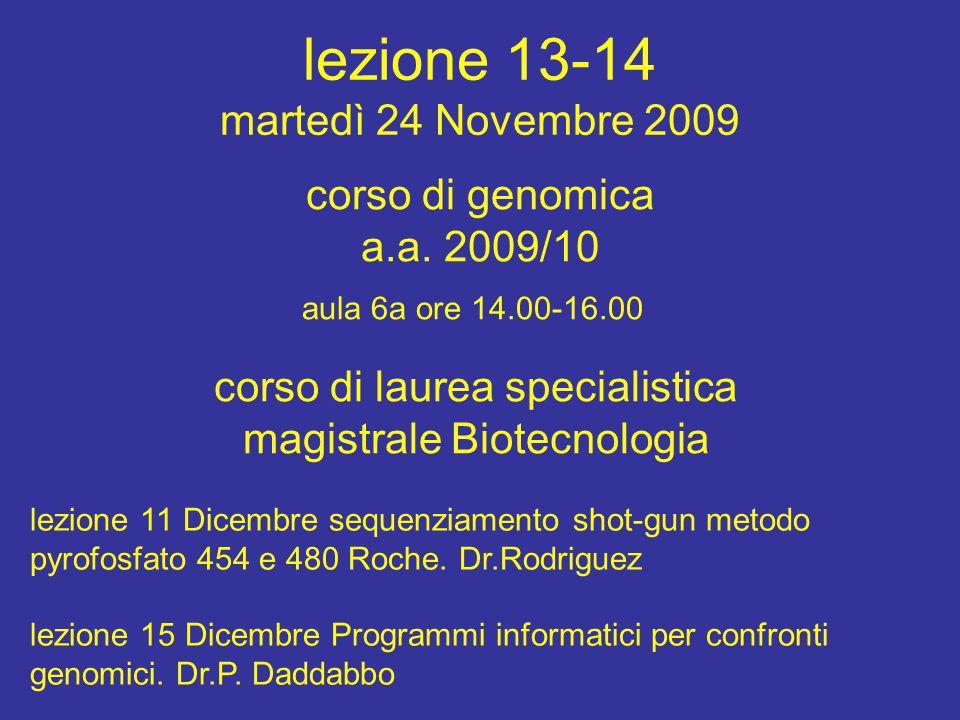 lezione 13-14 martedì 24 Novembre 2009 corso di laurea specialistica magistrale Biotecnologia aula 6a ore 14.00-16.00 corso di genomica a.a. 2009/10 l