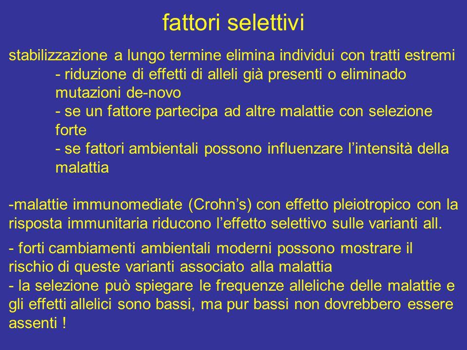 fattori selettivi stabilizzazione a lungo termine elimina individui con tratti estremi - riduzione di effetti di alleli già presenti o eliminado mutaz