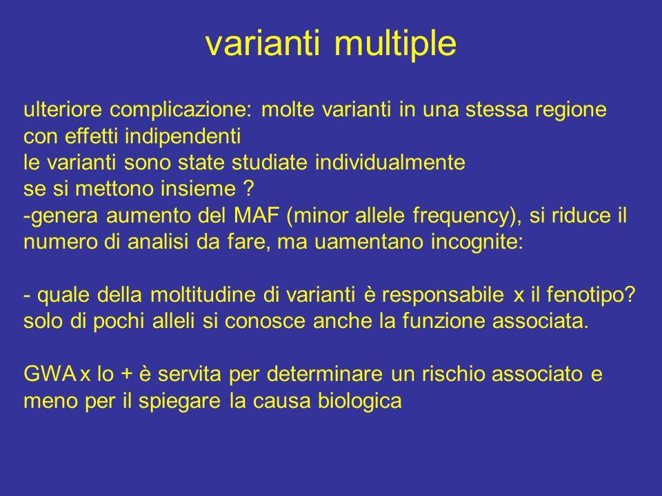 varianti multiple ulteriore complicazione: molte varianti in una stessa regione con effetti indipendenti le varianti sono state studiate individualmen