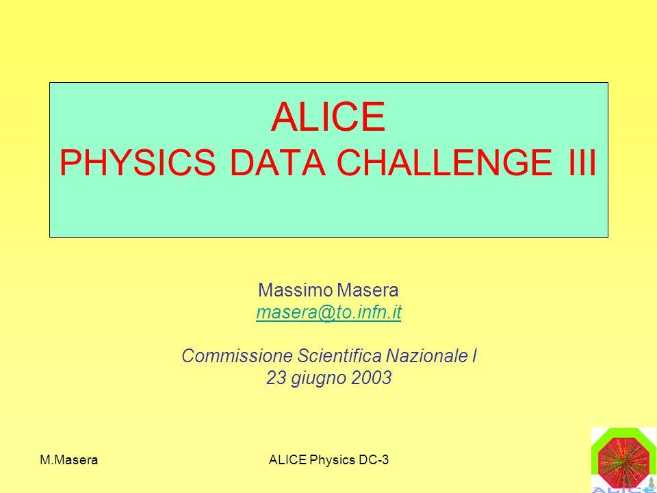 M.MaseraALICE Physics DC-3 Analisi distribuita: AliEnFS MSS VFS Kernel LUFS Kernel Space AliEnFS AliEn API User Space castor:// soap:// root:// https:// /alien/ alice/atlas/ data/ prod/ mc/ a/b/ Linux File System MSS Il catalogo di AliEn puo' essere montato in ambiente linux come un file system: Il browsing del catalogo e l'accesso ai file e' dal punto di vista dell'utente equivalente all'accesso di un file system convenzionale.
