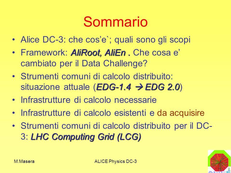 M.MaseraALICE Physics DC-3 RISORSE LCG (Esistenti o pianificate) dichiarate al progetto LCGCPU: 145 KSI2K (dichiarate al progetto LCG) – 75 al Tier1 – 70 al Tier2 di Torino (34 gia' esistenti) STORAGE: 16 TB – 8 TB dischi al Tier2 di Torino (2.6 gia` esistenti) – Restante quantita` al Tier1 TAPE CAPACITY: –25 TB al Tier1