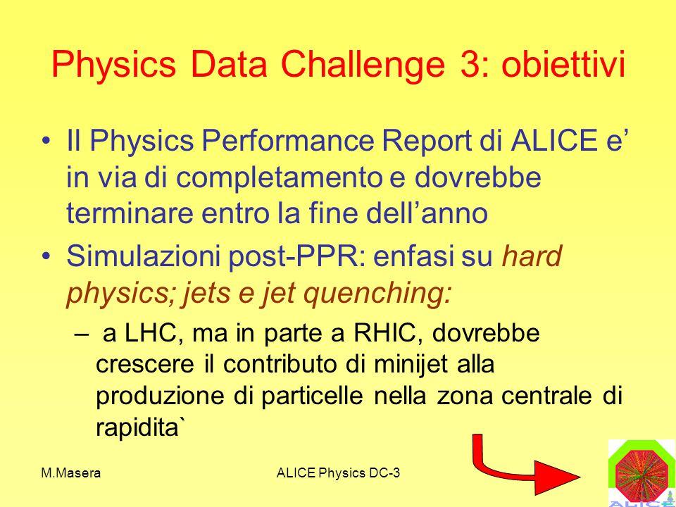 M.MaseraALICE Physics DC-3 ESIGENZE per DC-3 ALICE ITALIA I SEMESTRE 2004 II SEMESTRE 2004 CPU (KSI2000) 350140 DISCO (TB) (Escluso spool CASTOR) 43 NASTRO (TB)50