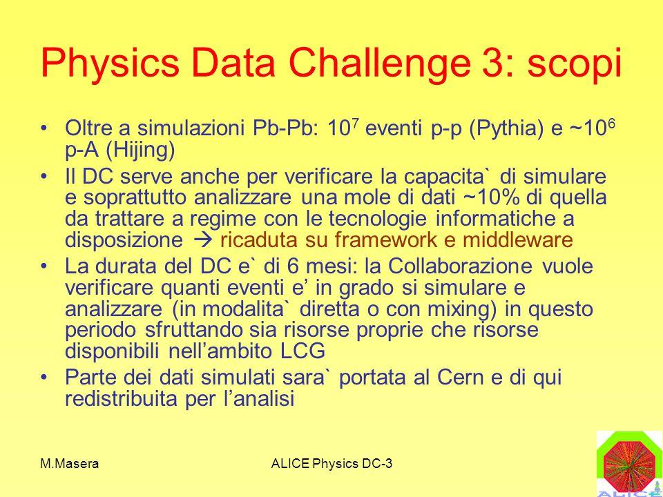 M.MaseraALICE Physics DC-3 Physics Data Challenge 3: scopi Oltre a simulazioni Pb-Pb: 10 7 eventi p-p (Pythia) e ~10 6 p-A (Hijing) Il DC serve anche per verificare la capacita` di simulare e soprattutto analizzare una mole di dati ~10% di quella da trattare a regime con le tecnologie informatiche a disposizione  ricaduta su framework e middleware La durata del DC e` di 6 mesi: la Collaborazione vuole verificare quanti eventi e' in grado si simulare e analizzare (in modalita` diretta o con mixing) in questo periodo sfruttando sia risorse proprie che risorse disponibili nell'ambito LCG Parte dei dati simulati sara` portata al Cern e di qui redistribuita per l'analisi