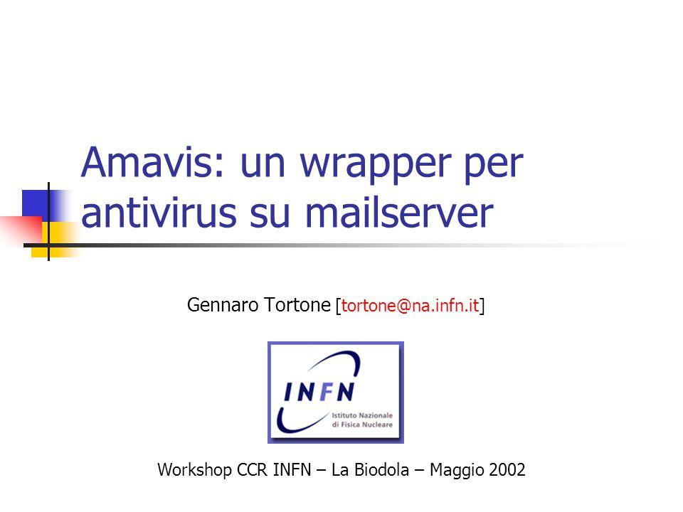 Amavis: un wrapper per antivirus su mailserver Gennaro Tortone [tortone@na.infn.it] Workshop CCR INFN – La Biodola – Maggio 2002