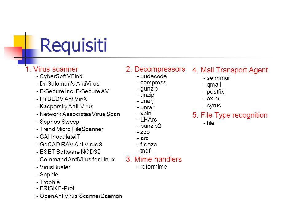 Features - supporto per i file attach compressi ricorsivamente; - per ogni e-mail infetta e' possibile abilitare la notifica di: - postmaster - mittente - destinatario - copia delle mail infette in quarantine zone ; Release history - amavis 0.2.x: Bourne shell script; - amavis-perl-1x: Perl script; - amavisd: versione client server – lo script Amavis viene eseguito come daemon e comunica con il MTA mediante socket ed un programma client;