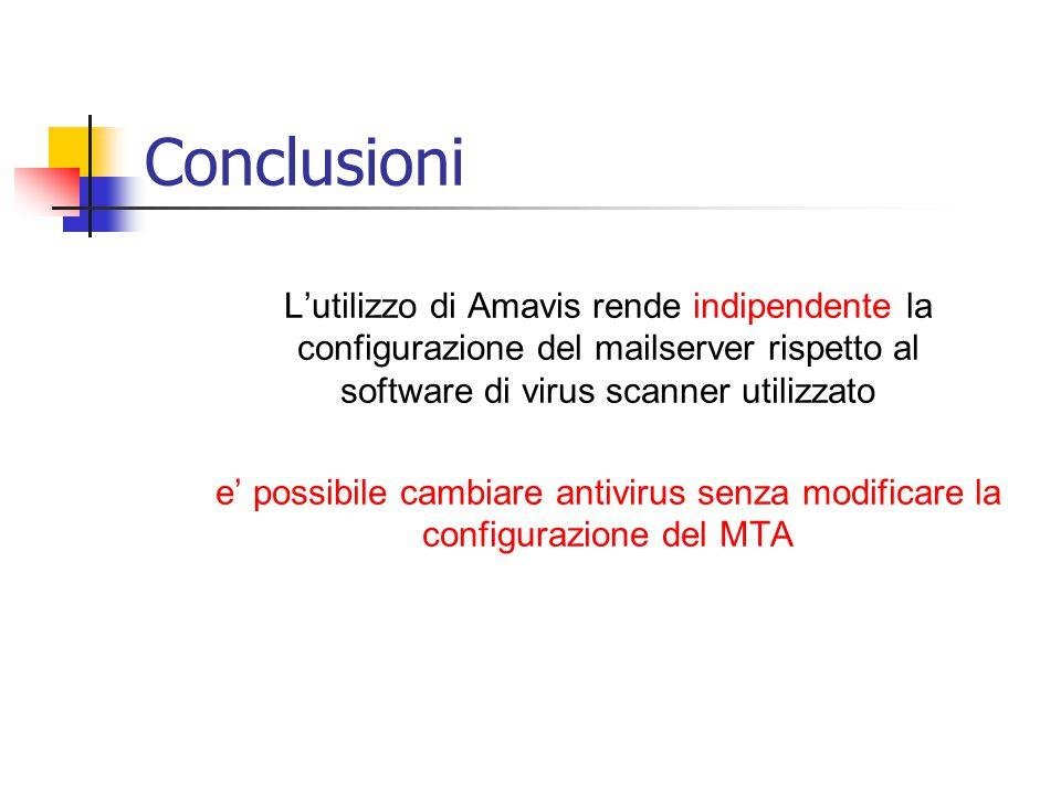 Conclusioni L'utilizzo di Amavis rende indipendente la configurazione del mailserver rispetto al software di virus scanner utilizzato e' possibile cambiare antivirus senza modificare la configurazione del MTA