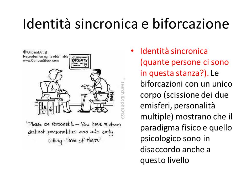 Identità sincronica e biforcazione Identità sincronica (quante persone ci sono in questa stanza?). Le biforcazioni con un unico corpo (scissione dei d