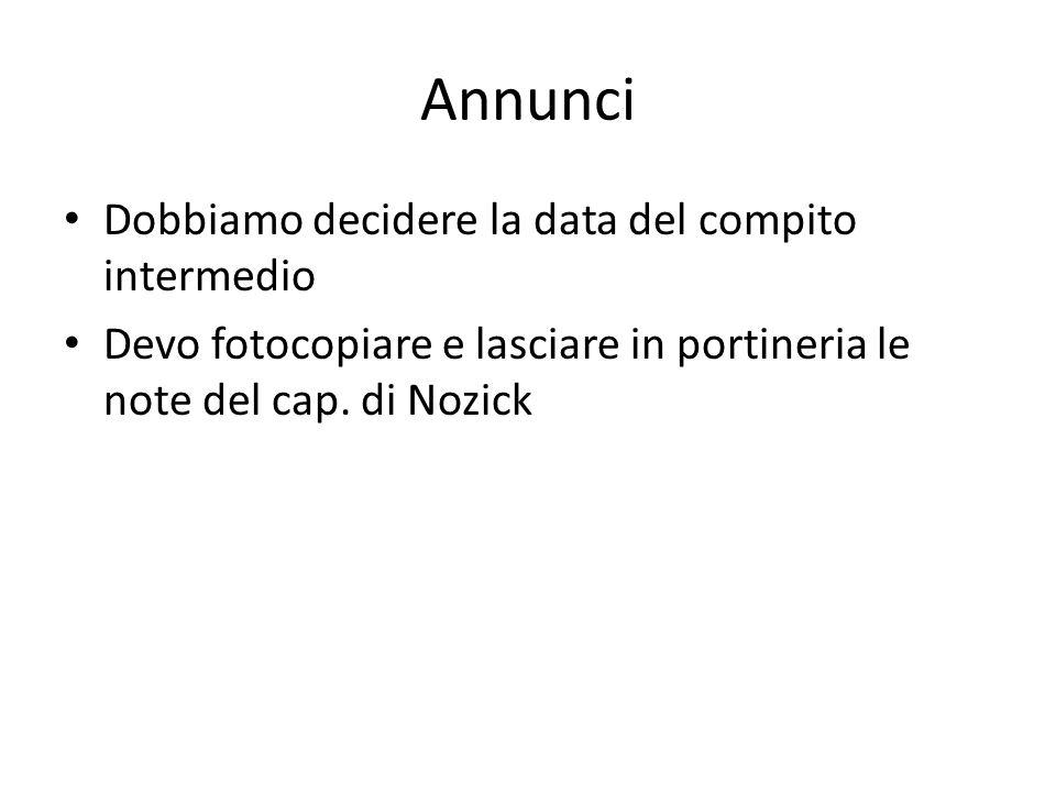 Annunci Dobbiamo decidere la data del compito intermedio Devo fotocopiare e lasciare in portineria le note del cap. di Nozick