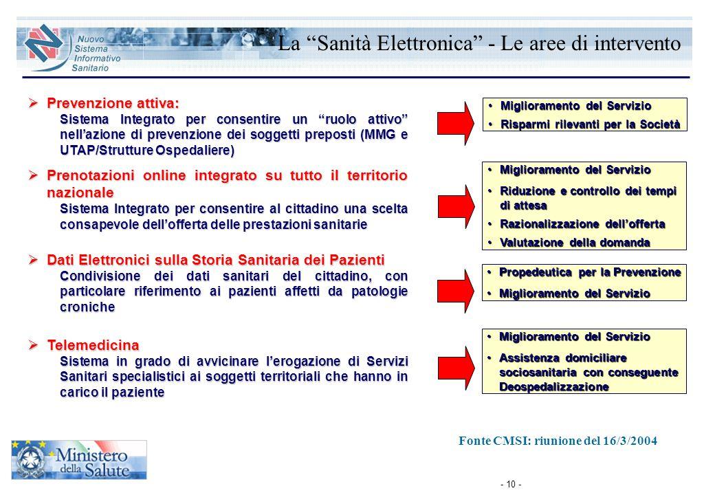 """- 10 -  Prevenzione attiva: Sistema Integrato per consentire un """"ruolo attivo"""" nell'azione di prevenzione dei soggetti preposti (MMG e UTAP/Strutture"""