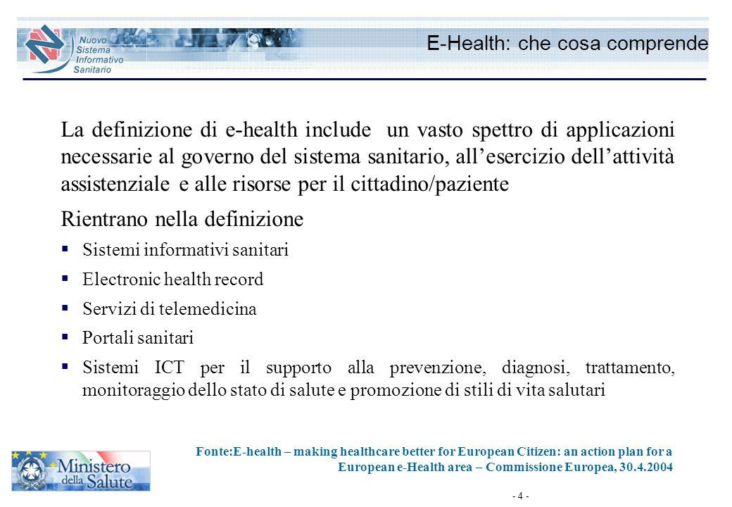 - 4 - E-Health: che cosa comprende La definizione di e-health include un vasto spettro di applicazioni necessarie al governo del sistema sanitario, al