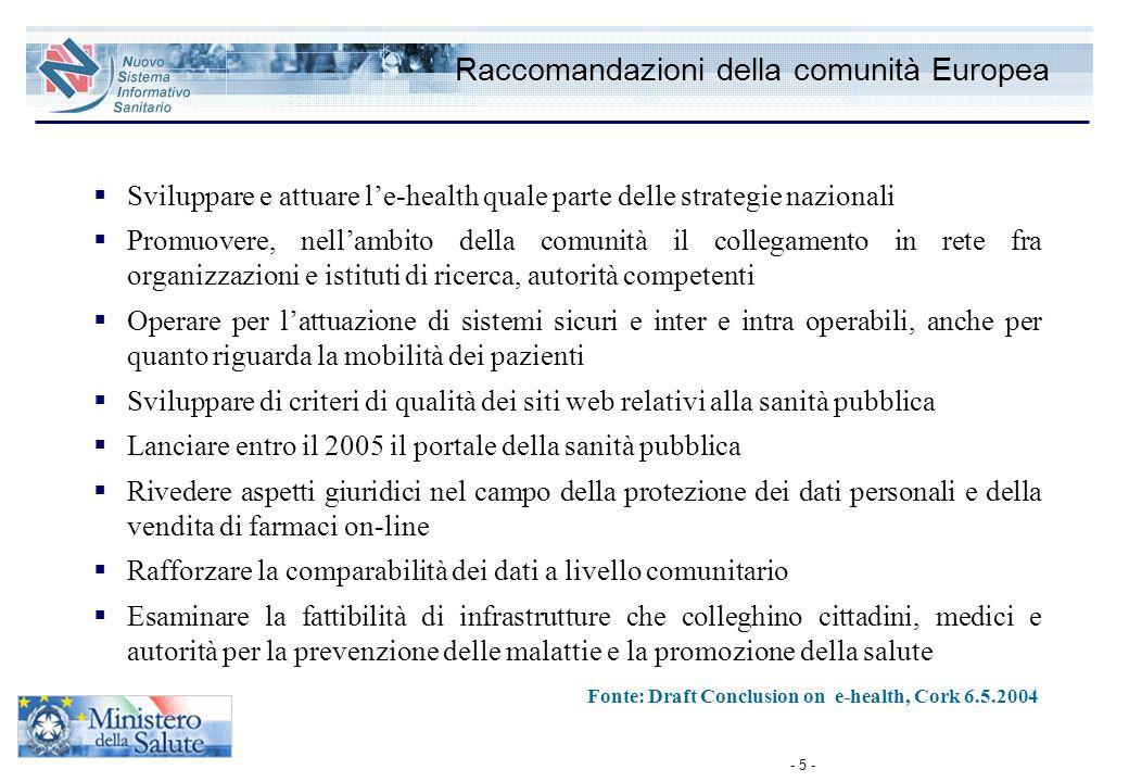 - 5 - Raccomandazioni della comunità Europea  Sviluppare e attuare l'e-health quale parte delle strategie nazionali  Promuovere, nell'ambito della c