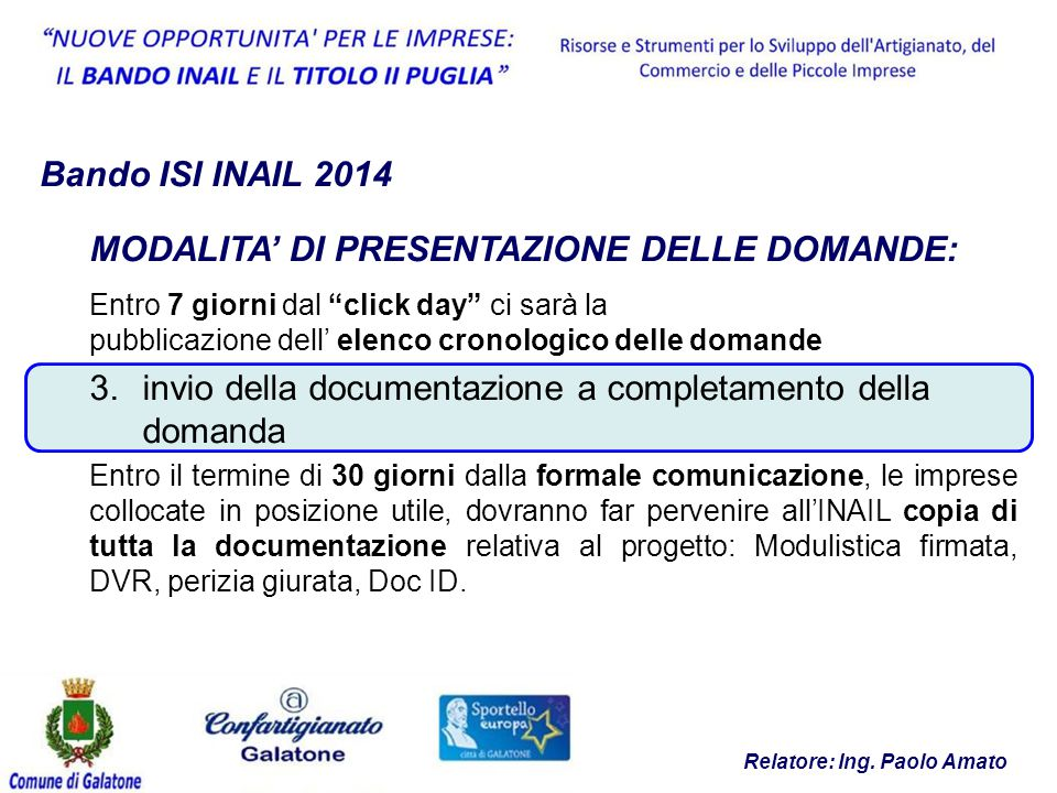 Bando ISI INAIL 2014 Relatore: Ing.
