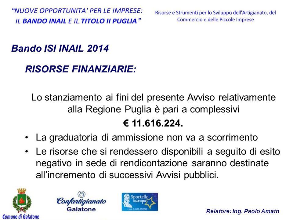 Bando ISI INAIL 2014 RISORSE FINANZIARIE: Lo stanziamento ai fini del presente Avviso relativamente alla Regione Puglia è pari a complessivi € 11.616.224.