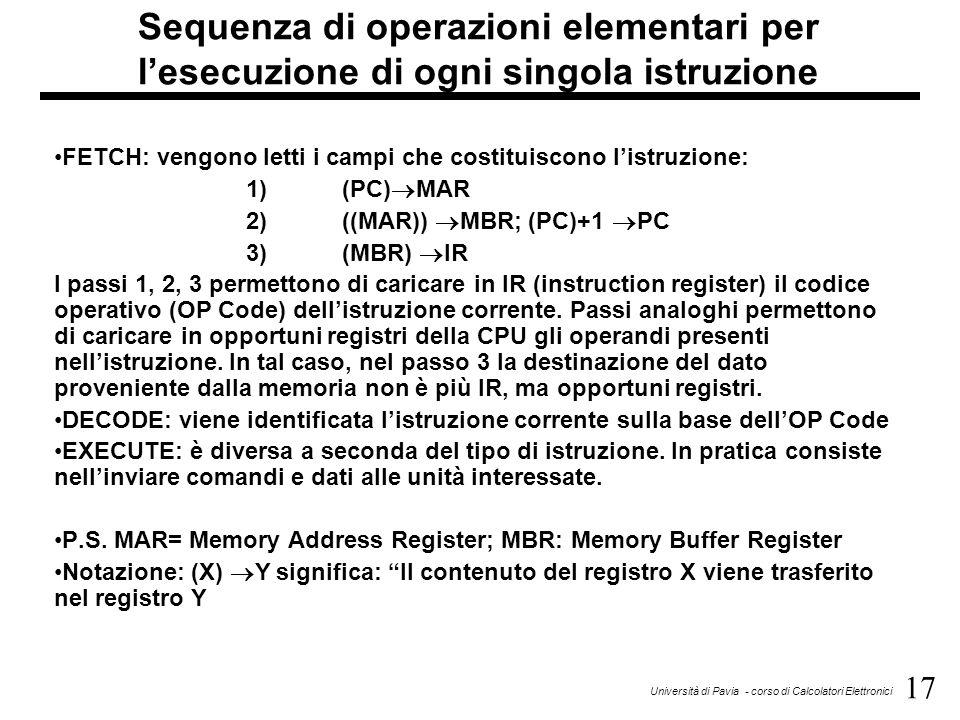 17 Università di Pavia - corso di Calcolatori Elettronici Sequenza di operazioni elementari per l'esecuzione di ogni singola istruzione FETCH: vengono
