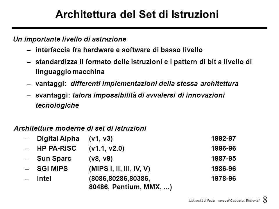 19 Università di Pavia - corso di Calcolatori Elettronici Esempio di esecuzione di istruzioni complete Esempio 2: somma tra il contenuto della cella di memoria il cui indirizzo è specificato nell'istruzione ed il contenuto dell'accumulatore; il risultato va nell'accumulatore FORMATO: codice operativo+operando FETCH: 1)(PC)  MAR 4)(PC)  MAR 2)((MAR))  MBR; (PC)+1  PC5) ((MAR))  MBR; (PC)+1  PC 3)(MBR)  IR6)(MBR)  Rn EXECUTE: 1)(Rn)  MAR3)(MBR)  Rn 2)((MAR))  MBR4)(Rn)+(ACC)  ACC