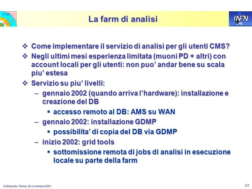 LNL CMS M.Biasotto, Roma, 22 novembre 2001 17 La farm di analisi  Come implementare il servizio di analisi per gli utenti CMS.
