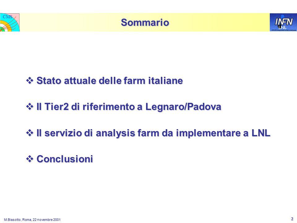 LNL CMS M.Biasotto, Roma, 22 novembre 2001 2 Sommario  Stato attuale delle farm italiane  Il Tier2 di riferimento a Legnaro/Padova  Il servizio di analysis farm da implementare a LNL  Conclusioni