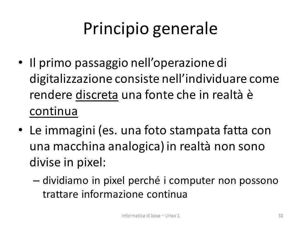 Principio generale Il primo passaggio nell'operazione di digitalizzazione consiste nell'individuare come rendere discreta una fonte che in realtà è co