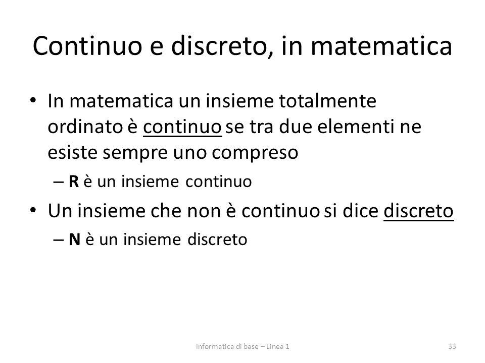 Continuo e discreto, in matematica In matematica un insieme totalmente ordinato è continuo se tra due elementi ne esiste sempre uno compreso – R è un